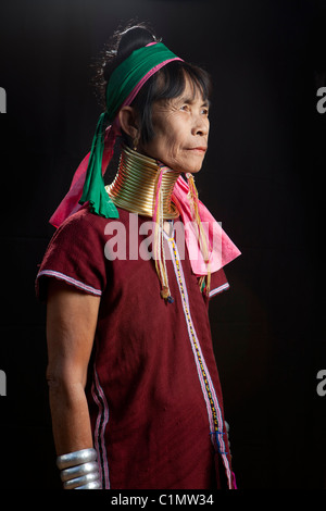 Karen Long Neck musician woman, Huay Pu Keng, Mae Hong Son, Thailand - Stock Photo