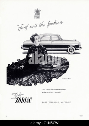 Original full page 1950s advert in women's fashion magazine for FORD ZEPHYR ZODIAC - Stock Photo