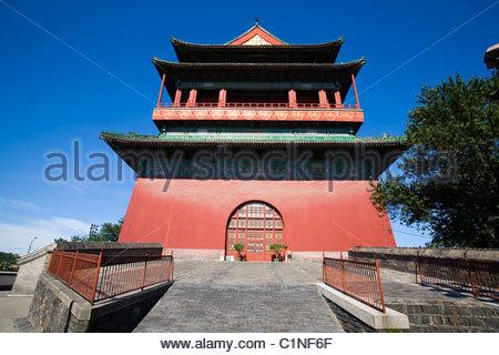 Beijing Drum Tower, Gulou, Dongcheng District, China - Stock Photo