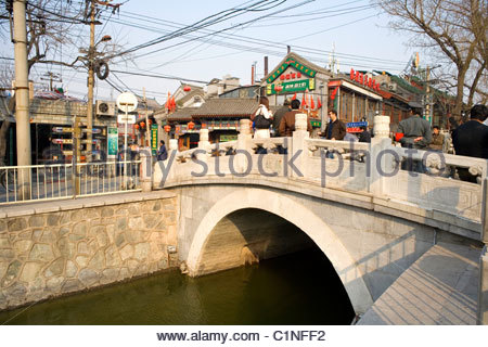 Beijing City, Shichahai, Hutong, Silver Ingot Bridge, Dongcheng District, China - Stock Photo