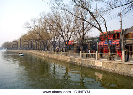 Beijing City, Shichahai, Hutong canal, Dongcheng District, China - Stock Photo