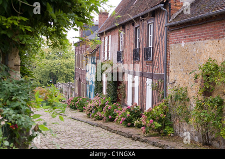 Cobbled street in the picturesque French village of Gerberoy - Stock Photo