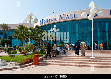 Shoppers entering the Marina Mall in Abu Dhabi, UAE. - Stock Photo