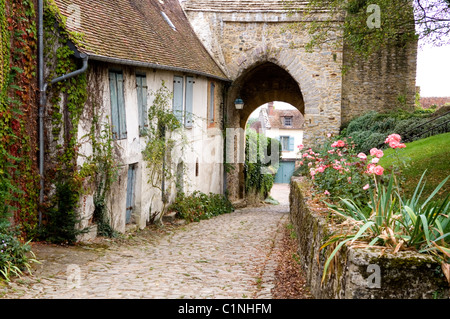Picturesque French village of Gerberoy - Stock Photo