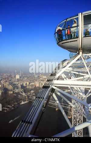 United Kingdom, London, view on London and the Thames from London Big Eye - Stock Photo