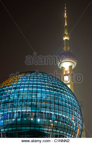 Shanghai, Oriental Pearl TV Tower, Pudong, Lujiazui District, China - Stock Photo