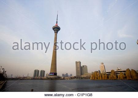 Tianjin Radio and TV Tower, China - Stock Photo