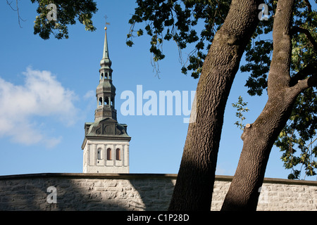 Picture of St. Nicholas Church Tower in Old Medieval Tallinn, Estonia - Stock Photo