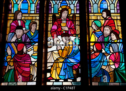 Stained Glass window , All Saints Church,  Stock Village, Essex, UK - Stock Photo