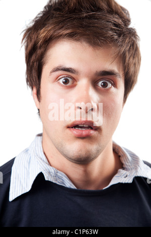 Funny young man beeing amazed and surprised - Stock Photo