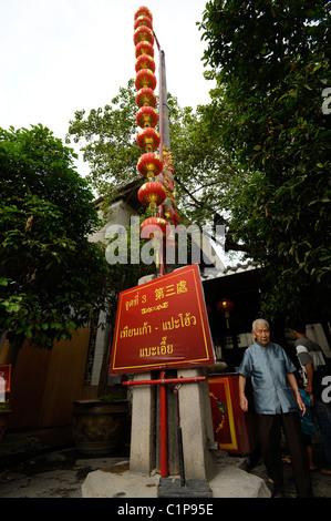 Red Chinese lanterns hanging in front of Chinese temple, Wat Mangkok Kamalawatt known as Wat Leng Nui Yee in Chinese, - Stock Photo