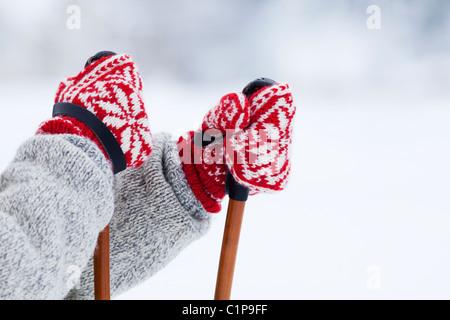 Person holding ski poles - Stock Photo
