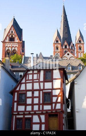 Germany, Limburg, cathedral and buildings - Stock Photo