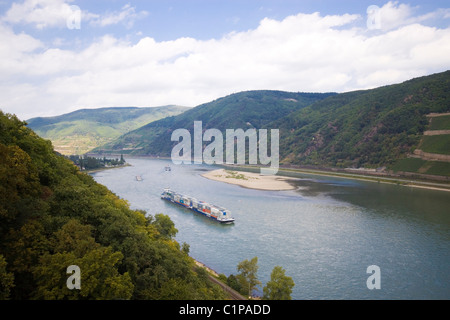 Germany, freight barg on river Rhine seen from Burg Rheinstein - Stock Photo