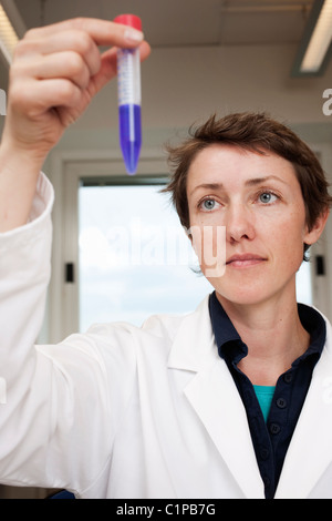 Scientist holding test tube - Stock Photo