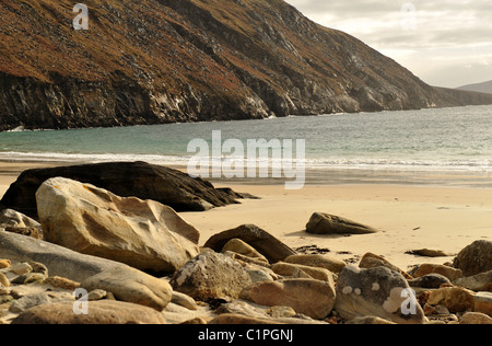 The attractive sandy beach in the west Co. Mayo - Stock Photo