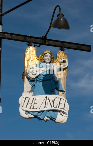 England, Suffolk, Long Melford, Lavenham, The Angel sign - Stock Photo