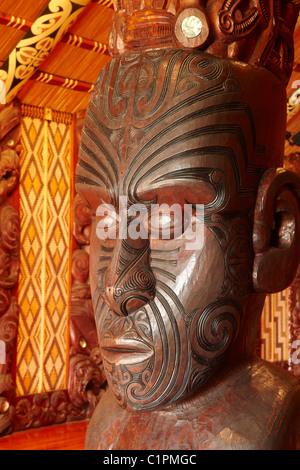 Interior of Te Whare Runanga, Maori Meeting House, Waitangi, Bay of Islands, Northland, North Island, New Zealand - Stock Photo