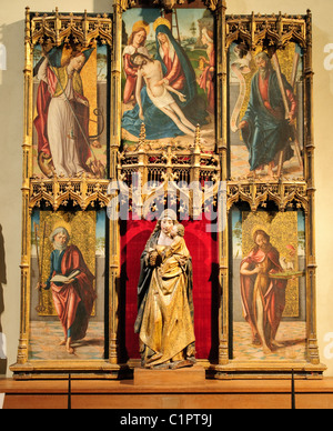Virgin and Child with the Pietà and Saints, altarpiece, Spanish, (Castilian), Painter, late 15th century, - Stock Photo