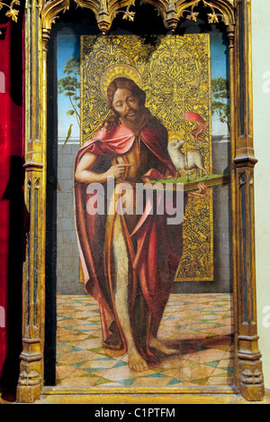Detail: Saint John the Baptist on wood, part of alterpiece, Virgin and Child with the Pietà and Saints, Spanish, - Stock Photo