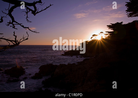 Last glimpse of sun to end the day along the 17 mile drive, Monterey Bay, Central California, USA - Stock Photo