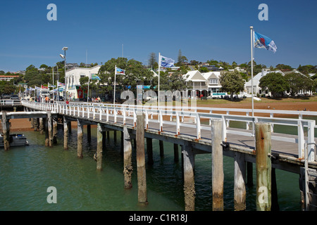 Wharf, Russell, Bay of Islands, Northland, North Island, New Zealand - Stock Photo
