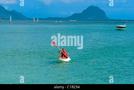 Kayak in front of La Pirogue hotel at Wolmar on the west coast of Mauritius - Stock Photo