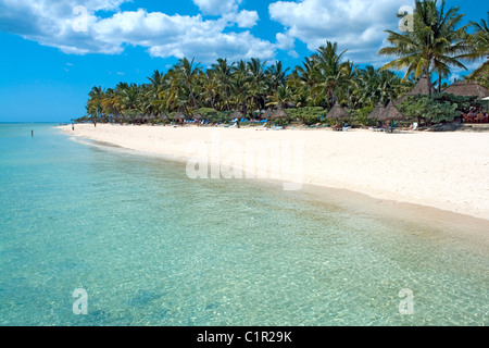 Beach in front of La Pirogue hotel at Wolmar on the west coast of Mauritius - Stock Photo