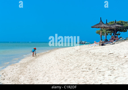 The beach in front of La Pirogue hotel at Wolmar on the west coast of Mauritius - Stock Photo
