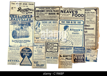 Selection of vintage drink health and remedy advertisements 'newspaper clippings' of 19 different products. EDITORIAL - Stock Photo