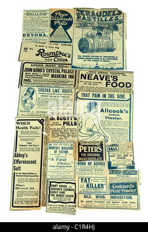 Selection of vintage drink health and remedy advertisements 'newspaper clippings' of  different products. EDITORIAL - Stock Photo