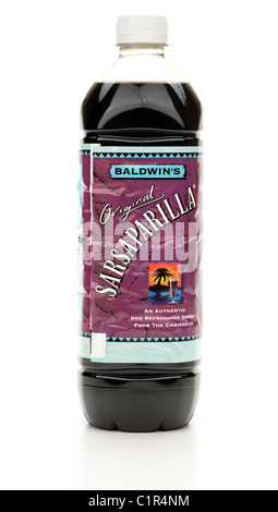 Plastic bottle of Baldwins original Sarsaparilla cordial drink - Stock Photo