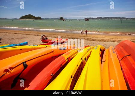 Kayaks on beach, Paihia, Bay of Islands, Northland, North Island, New Zealand - Stock Photo