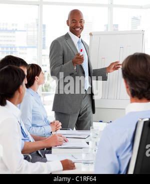 Diverse business people studying a new business plan - Stock Photo