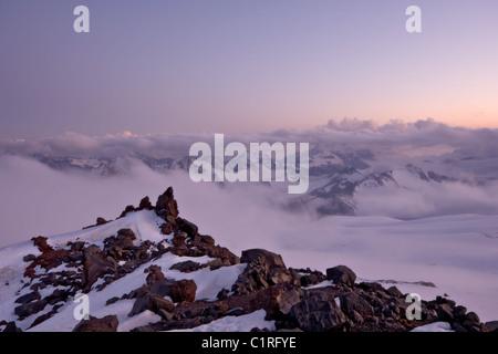 Sunset in Caucasus mountains. Pink colours. Near peak Elbrus. Kabardino-Balkaria. Russia. - Stock Photo