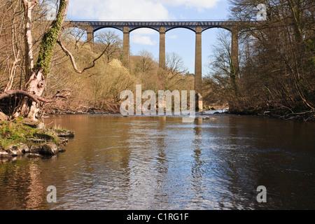 Trevor, Wrexham, North Wales, UK. Pontcysyllte Aqueduct carrying the Llangollen Canal across the River Dee valley. - Stock Photo