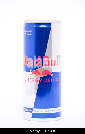 A can of Red Bull Energy Drink on a white background - Stock Photo