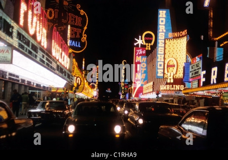 Gambling Casinos along  The Strip at night in  Las Vegas Nevada USA   1971  KATHY DEWITT - Stock Photo