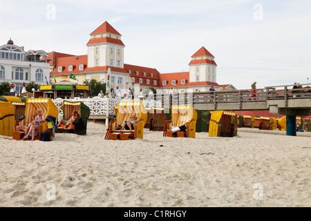 beach and spa hotel in Binz, Germany; Kurhaus und Strand in Binz, Insel Rügen - Stock Photo