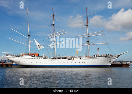 The Gorch Fock (1958) is a tall ship of the German Navy (Deutsche Marine) anchored in the harbour in Stralsund. - Stock Photo