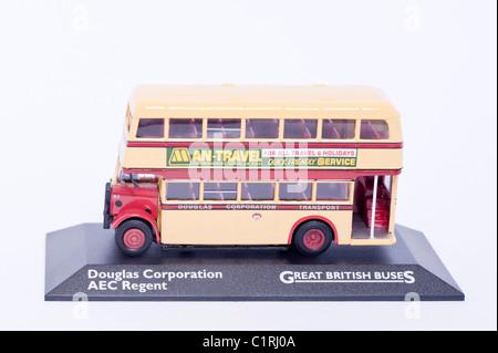 A model Douglas Corporation AEC Regent great British bus on a white background - Stock Photo