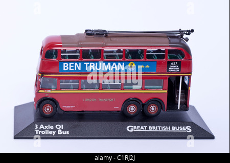 A model 3 Axle QI Trolley bus great British bus on a white background - Stock Photo