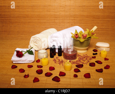 Spa setting, various spa items - Stock Photo