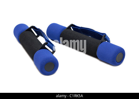 Dumbbells in soft shell on white background - Stock Photo