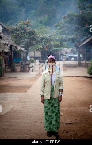 Karen long neck woman in village, Huay Pu Keng Karen refugee village, Mae Hong Son, Thailand - Stock Photo