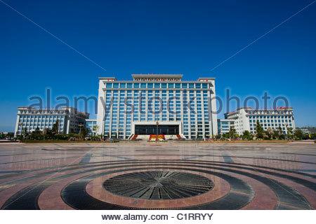 Peoples Square, Yinchuan, Ningxia Hui Autonomous Region, China - Stock Photo