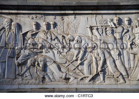 Urumqi, Xinjiang, Peoples Square, Monument to the Peoples Liberation Armys March into Xinjiang - Stock Photo