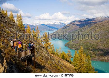 Kanas Lake, Altay Mountains, Xinjiang, China - Stock Photo