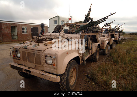 A Pink Panther Land Rover desert patrol vehicle of the British Army. - Stock Photo