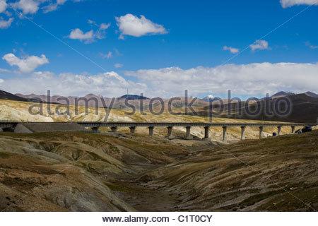 Mt Kunlun, Qinghai Tibet Railway, Tibetan Plateau, Tibet, China - Stock Photo